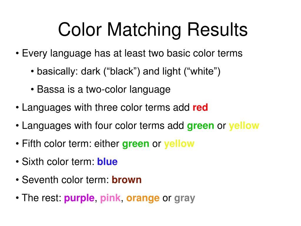 Color Matching Results