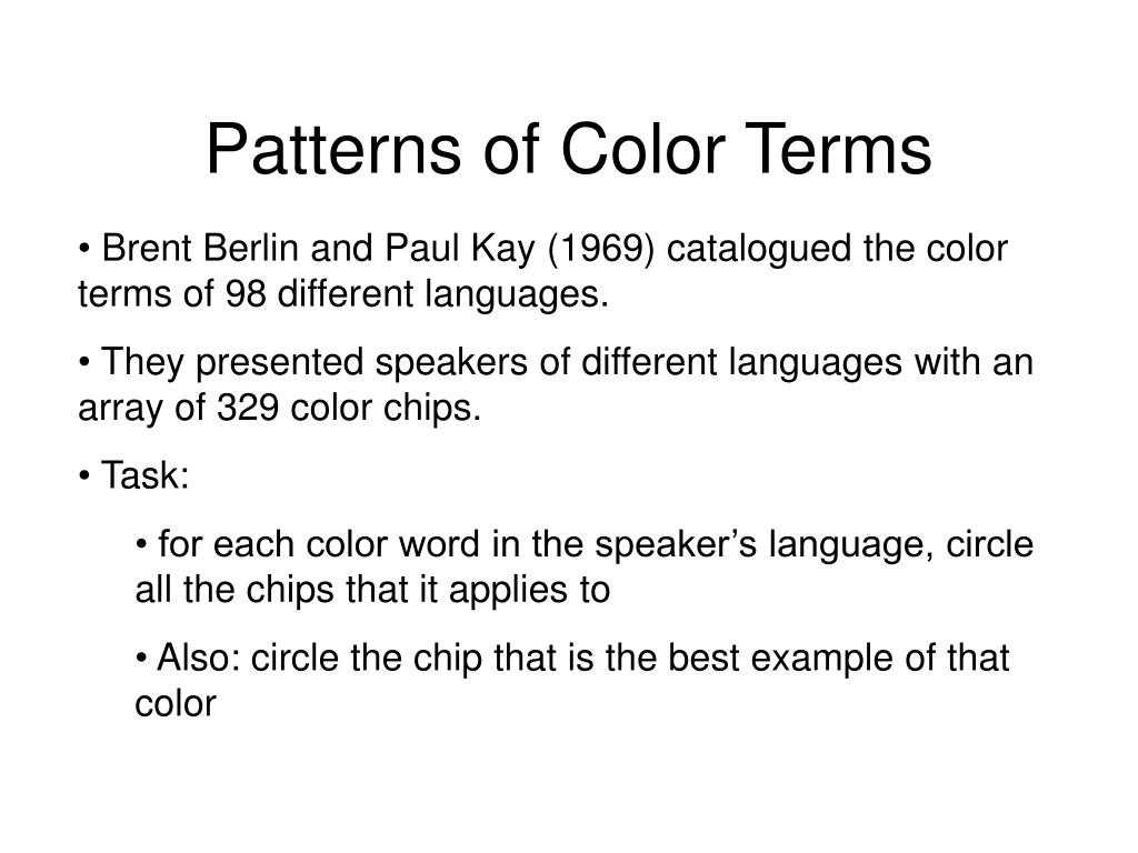 Patterns of Color Terms