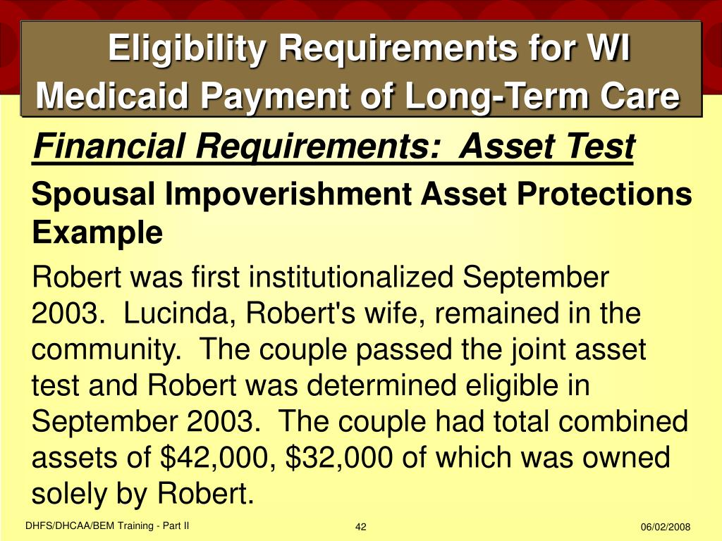 Eligibility Requirements for WI Medicaid Payment of Long-Term Care
