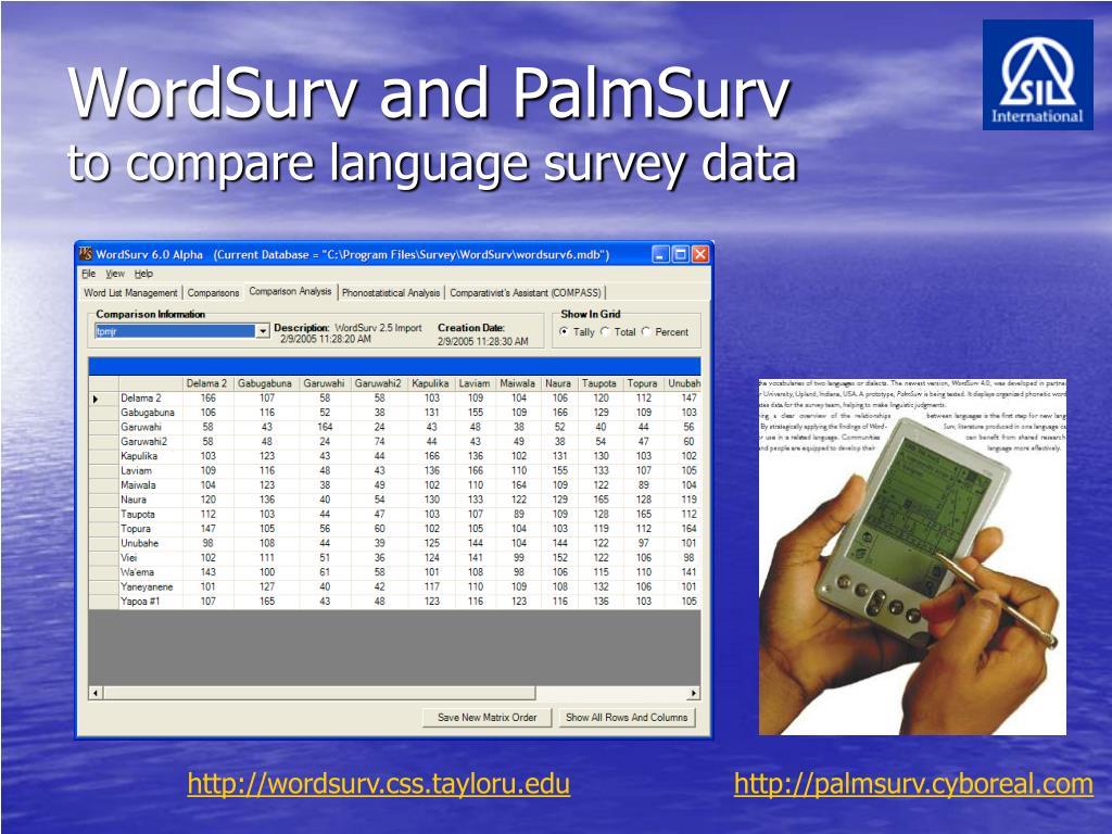 WordSurv and PalmSurv
