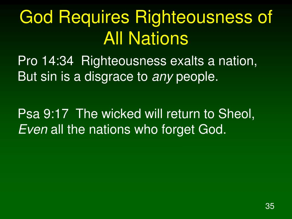 God Requires Righteousness of All Nations