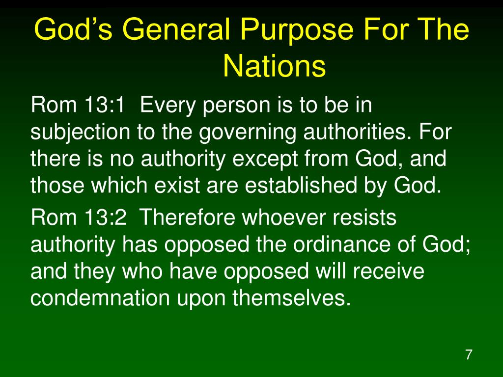 God's General Purpose For The Nations