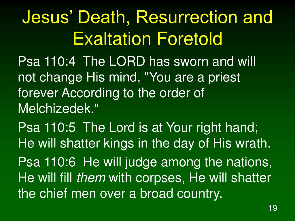 Jesus' Death, Resurrection and Exaltation Foretold