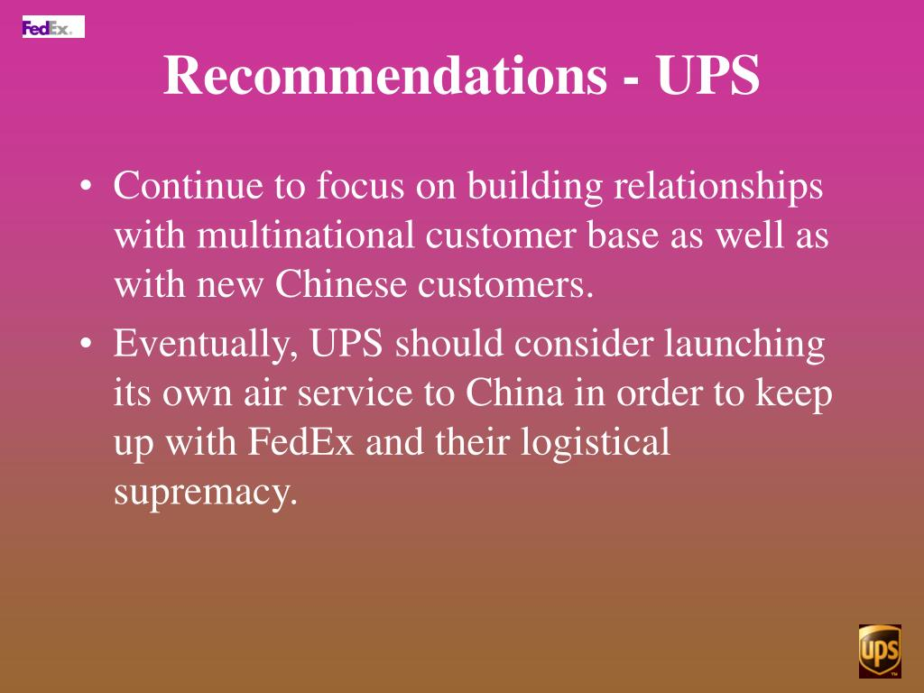 Recommendations - UPS