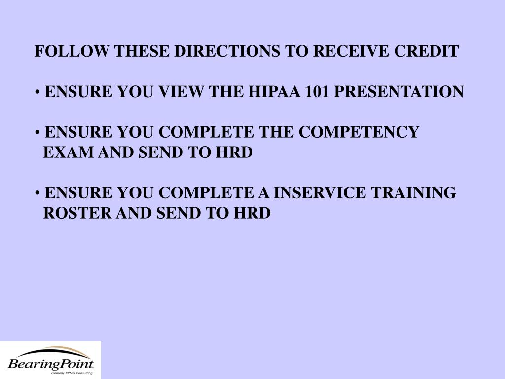 FOLLOW THESE DIRECTIONS TO RECEIVE CREDIT