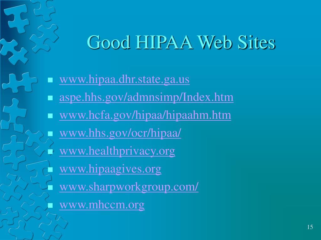 Good HIPAA Web Sites