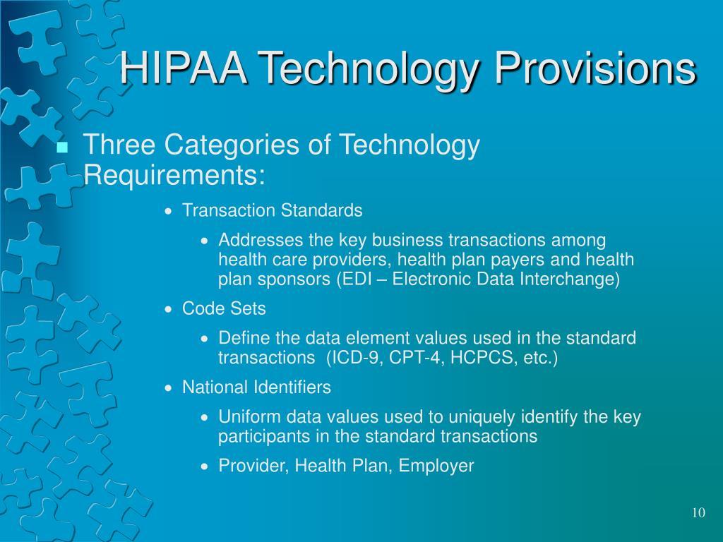 HIPAA Technology Provisions