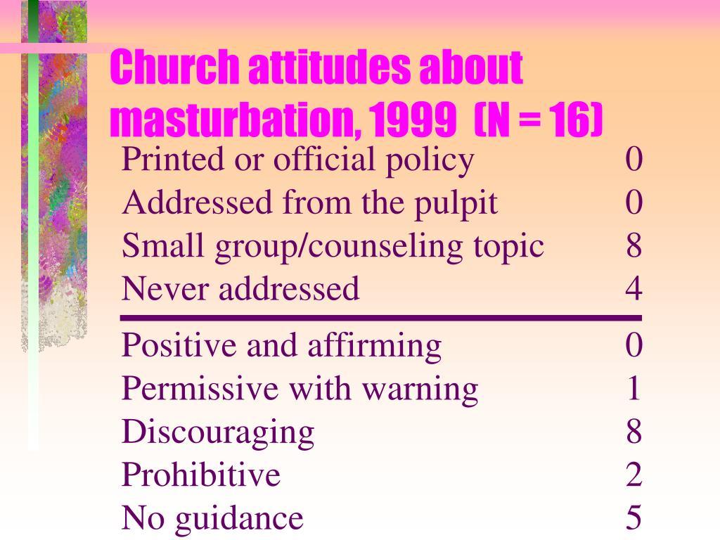 Church attitudes about masturbation, 1999  (N = 16)