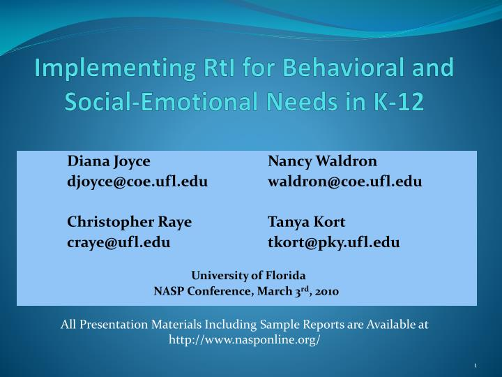 Implementing rti for behavioral and social emotional needs in k 12