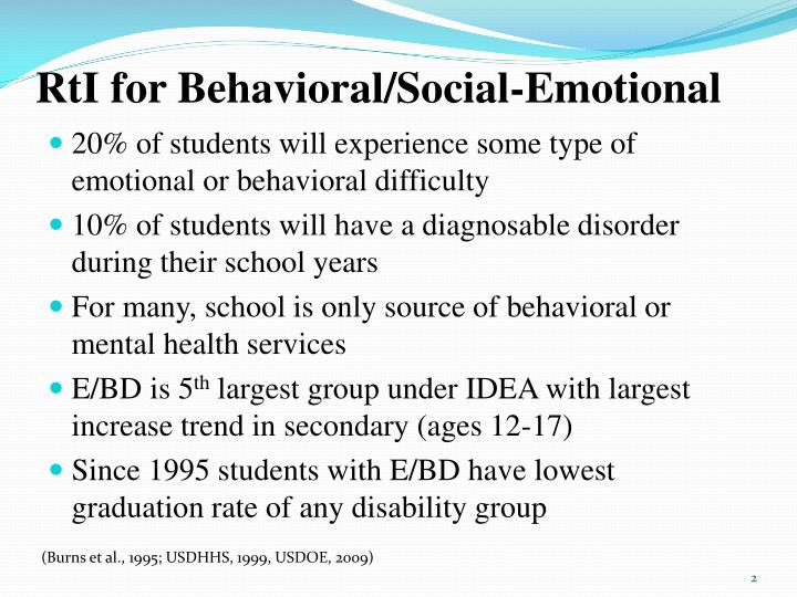 Rti for behavioral social emotional