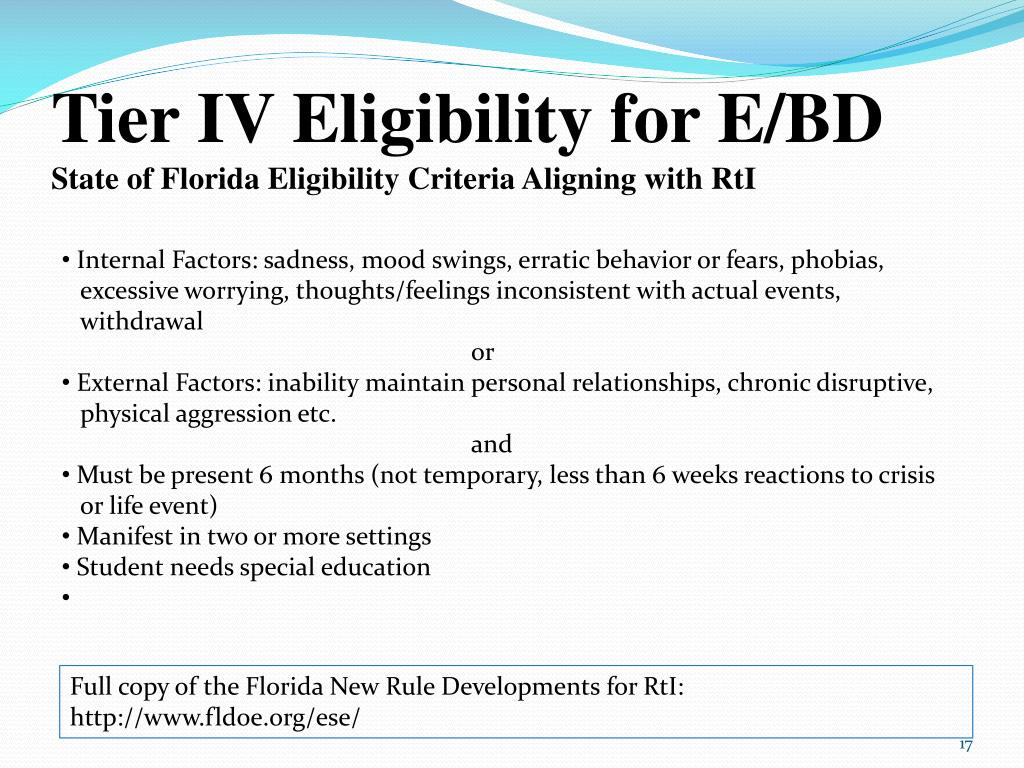 Tier IV Eligibility for E/BD