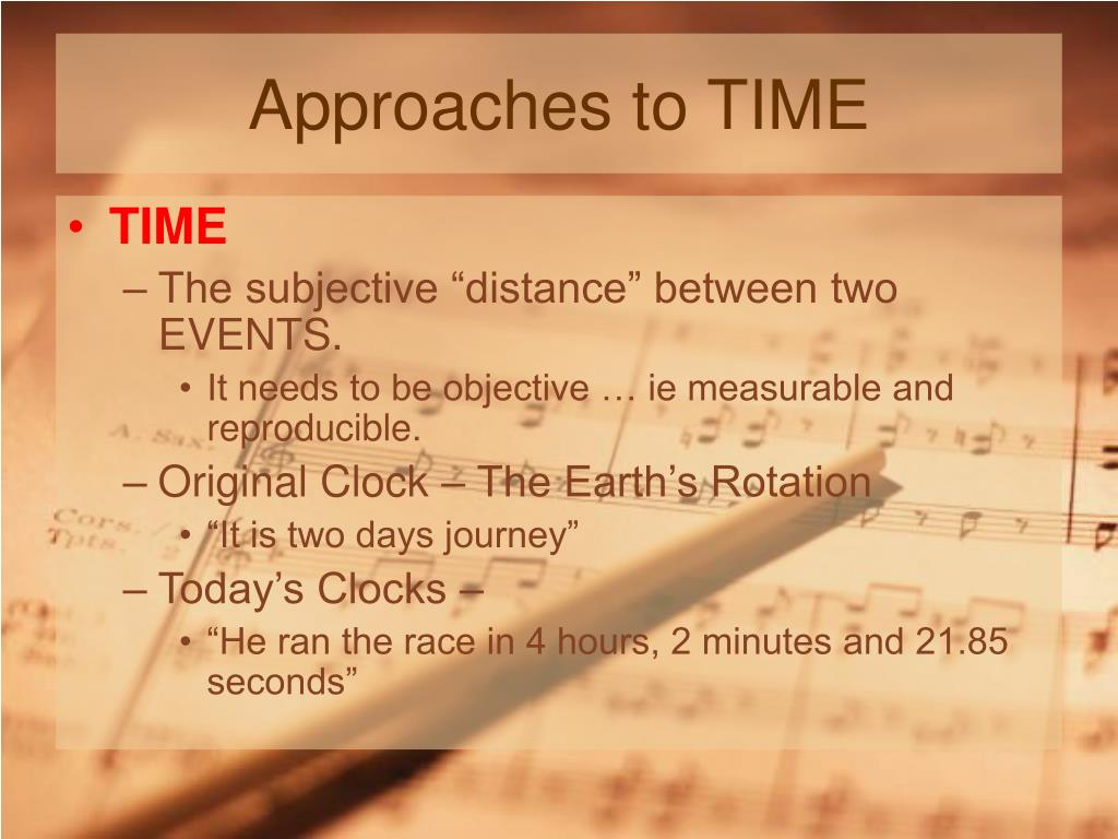Approaches to TIME