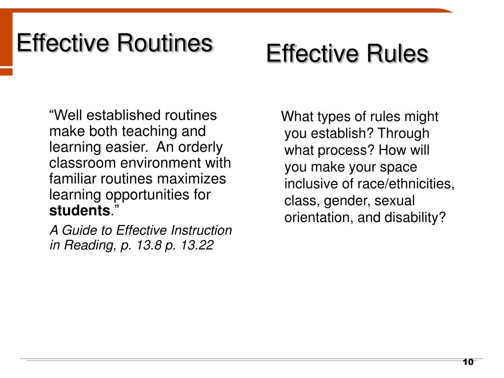 """Well established routines make both teaching and learning easier.  An orderly classroom environment with familiar routines maximizes learning opportunities for"