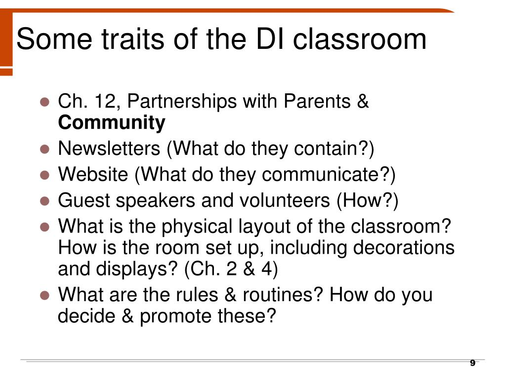 Some traits of the DI classroom