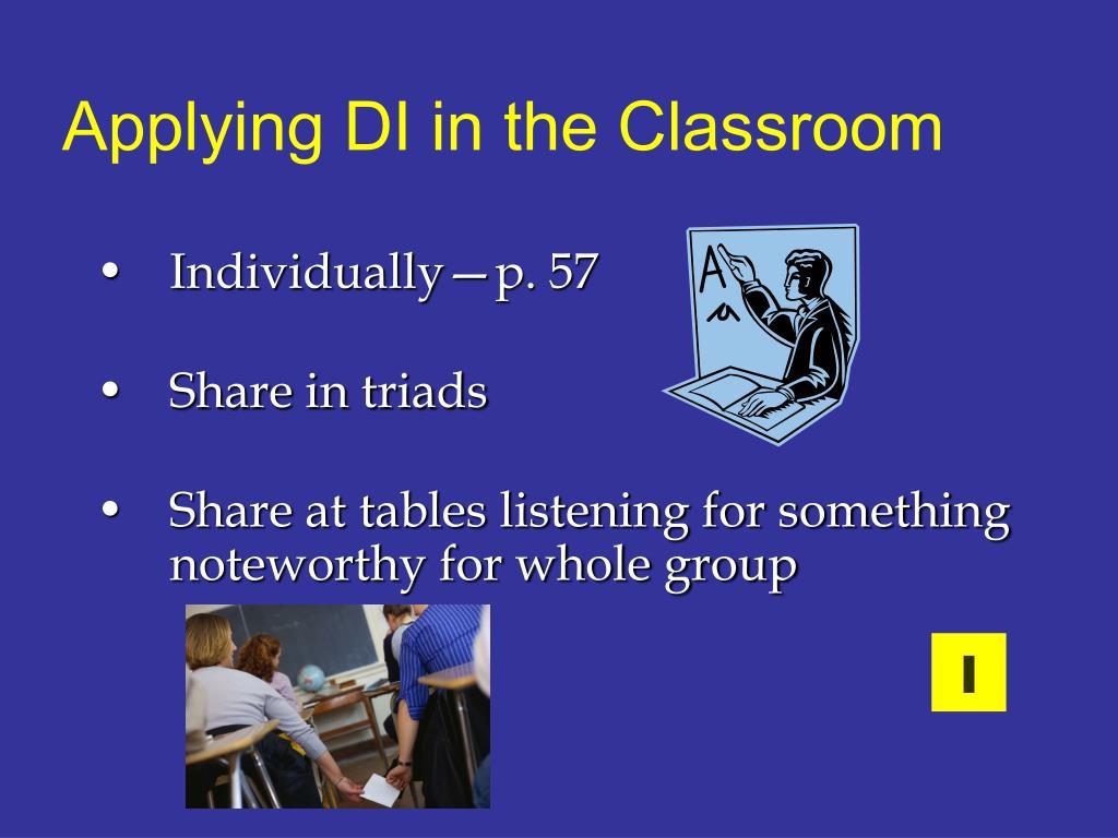 Applying DI in the Classroom