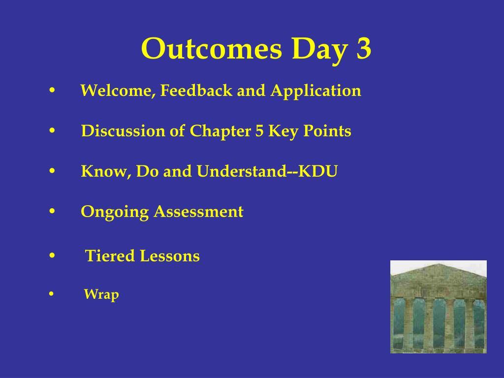 Outcomes Day 3