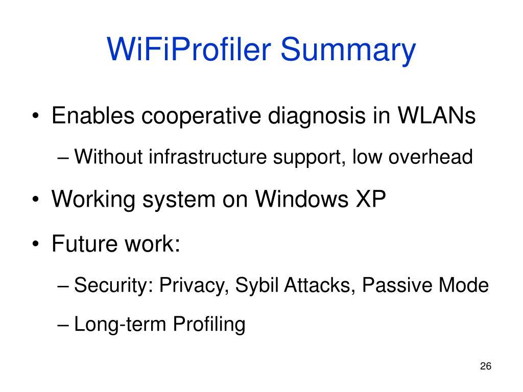 WiFiProfiler Summary