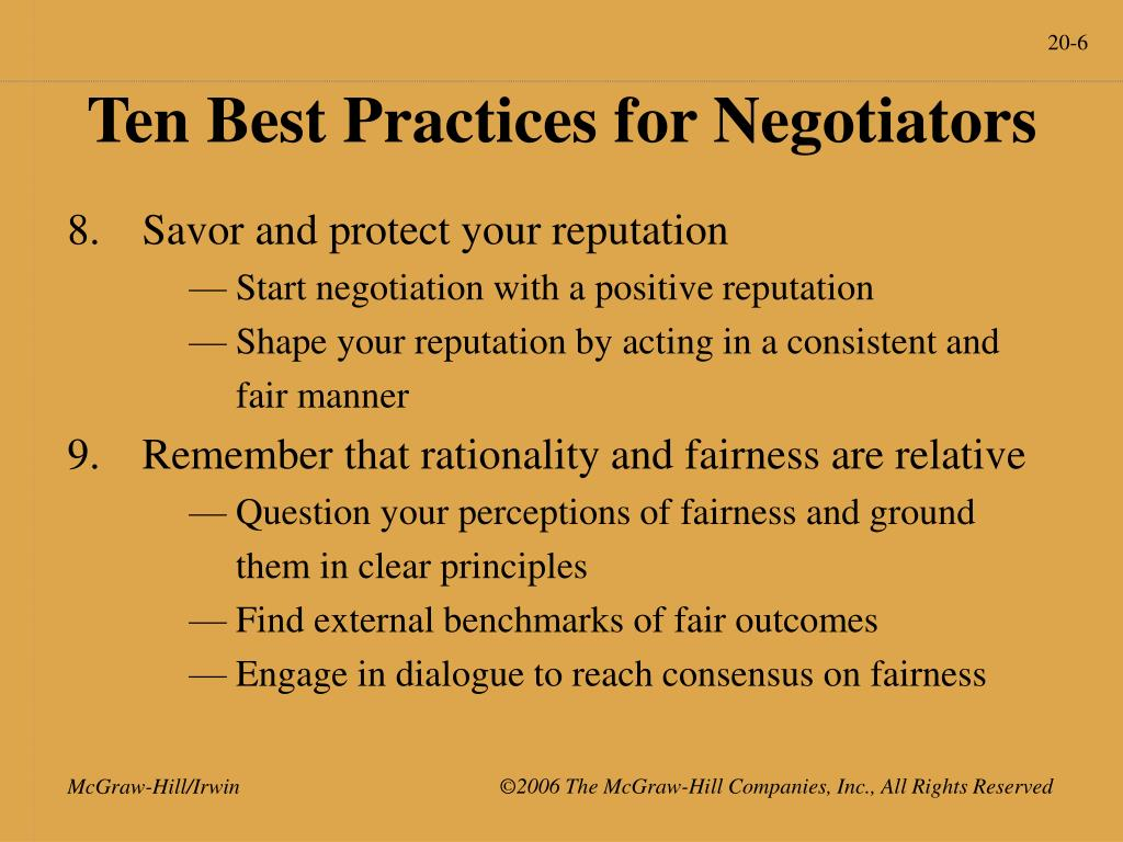 Ten Best Practices for Negotiators