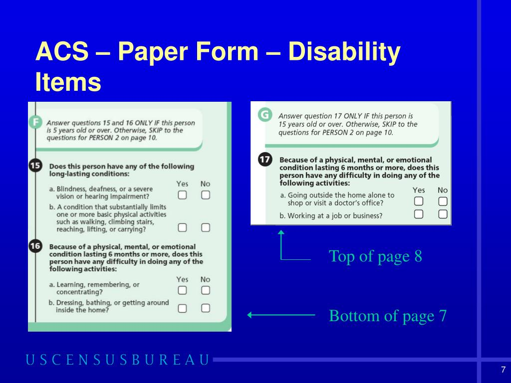 ACS – Paper Form – Disability Items