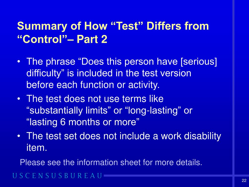 "Summary of How ""Test"" Differs from ""Control""– Part 2"