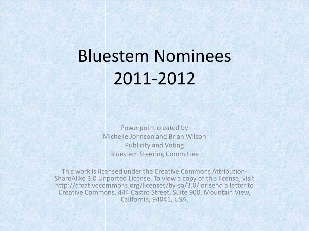 Bluestem Nominees