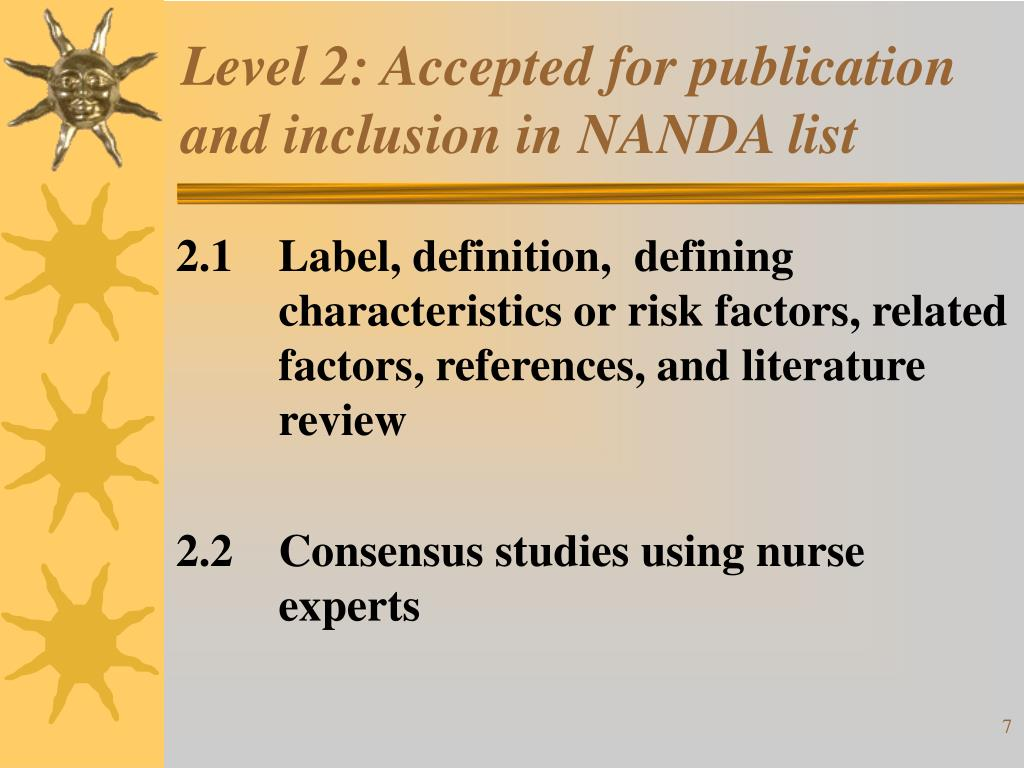 Level 2: Accepted for publication and inclusion in NANDA list