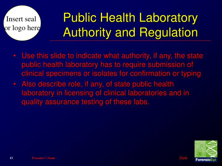Public Health Laboratory Authority and Regulation