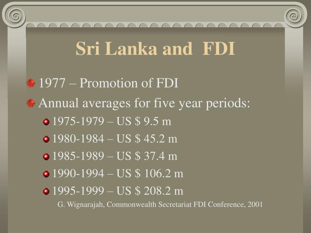 Sri Lanka and  FDI