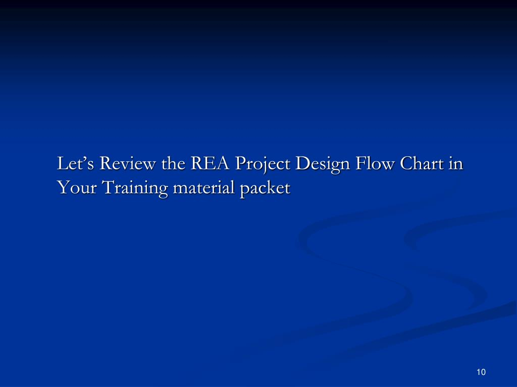 Let's Review the REA Project Design Flow Chart in Your Training material packet
