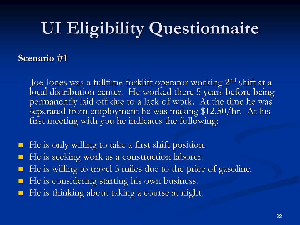 UI Eligibility Questionnaire