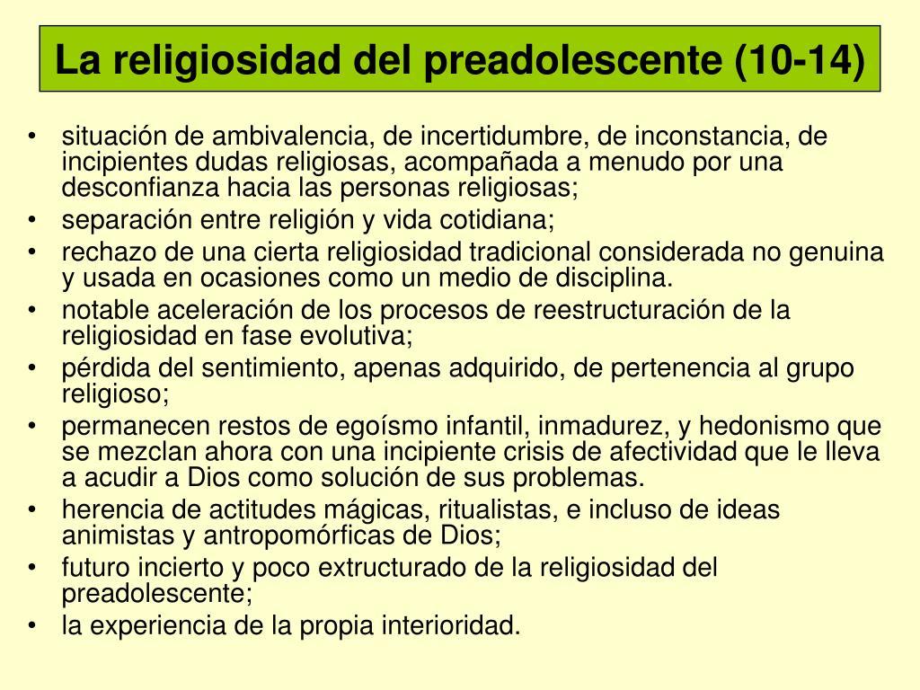 La religiosidad del preadolescente
