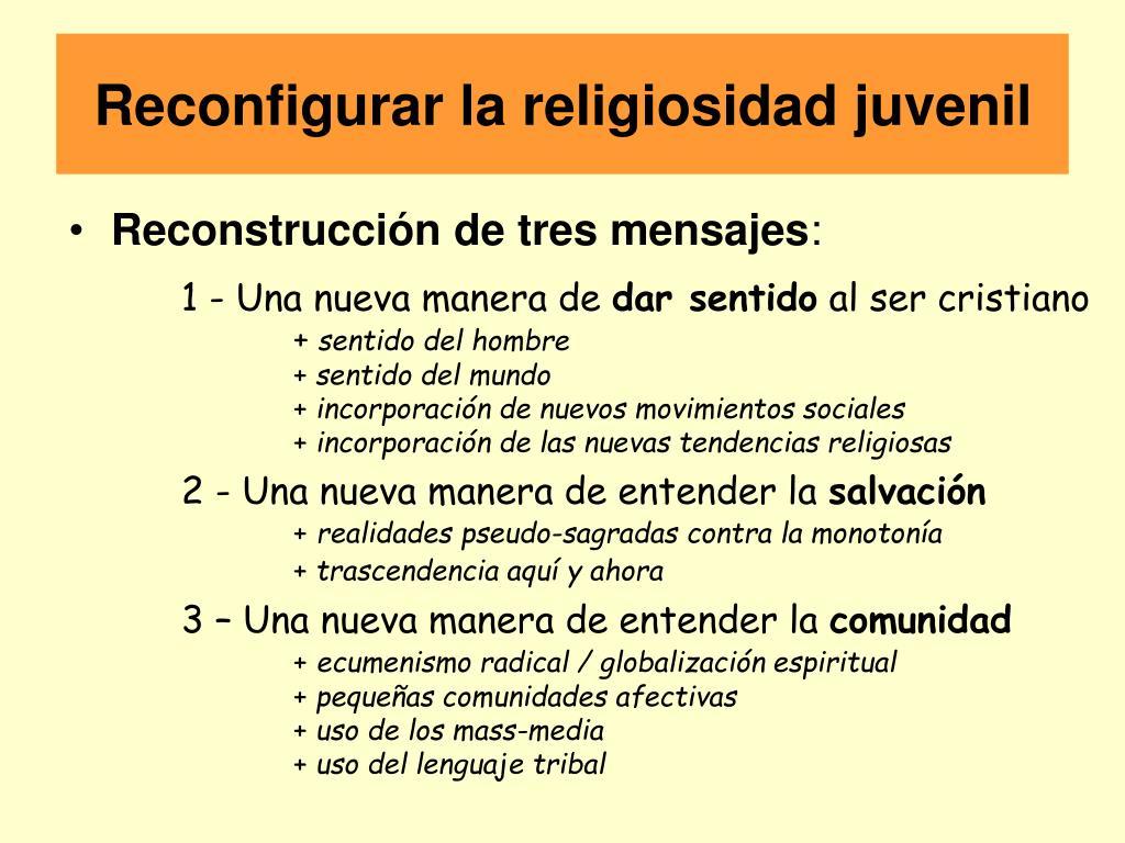 Reconfigurar la religiosidad juvenil