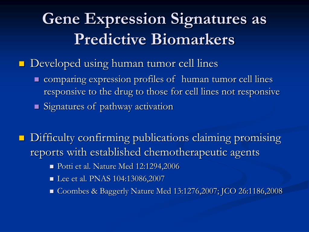 Gene Expression Signatures as Predictive Biomarkers