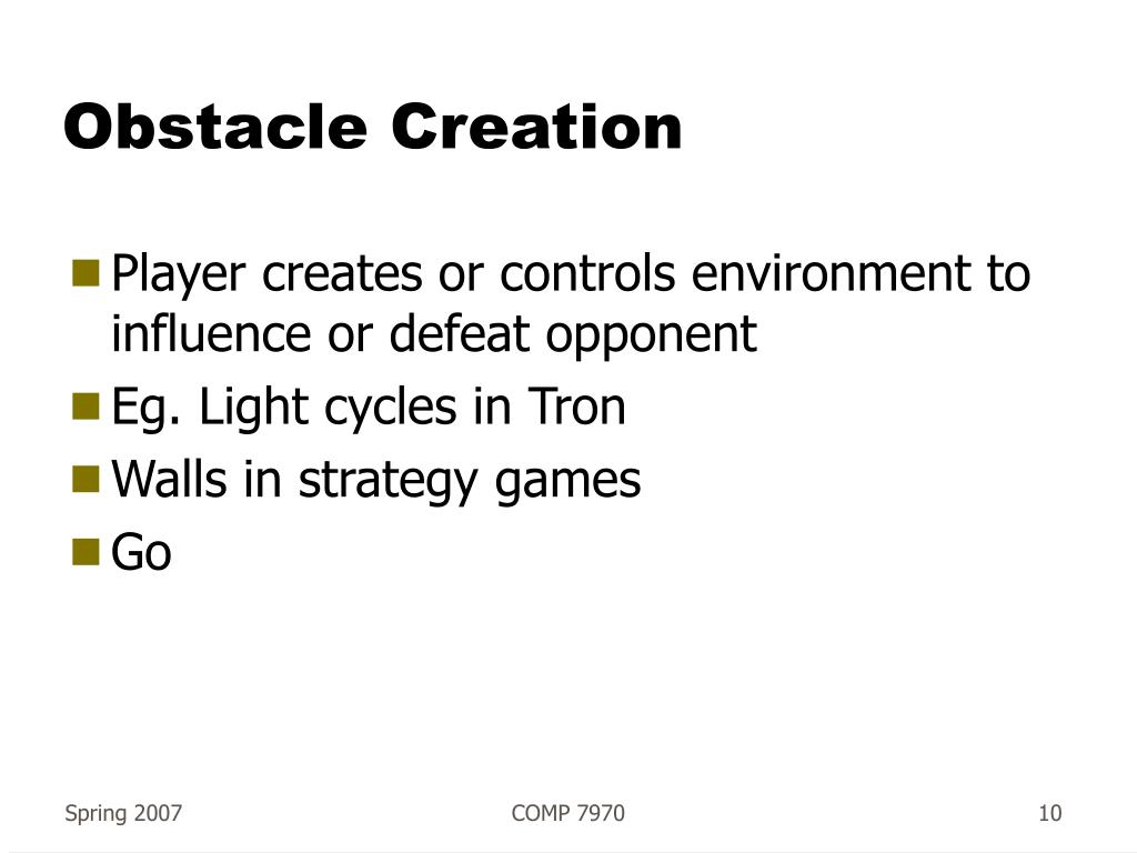 Obstacle Creation