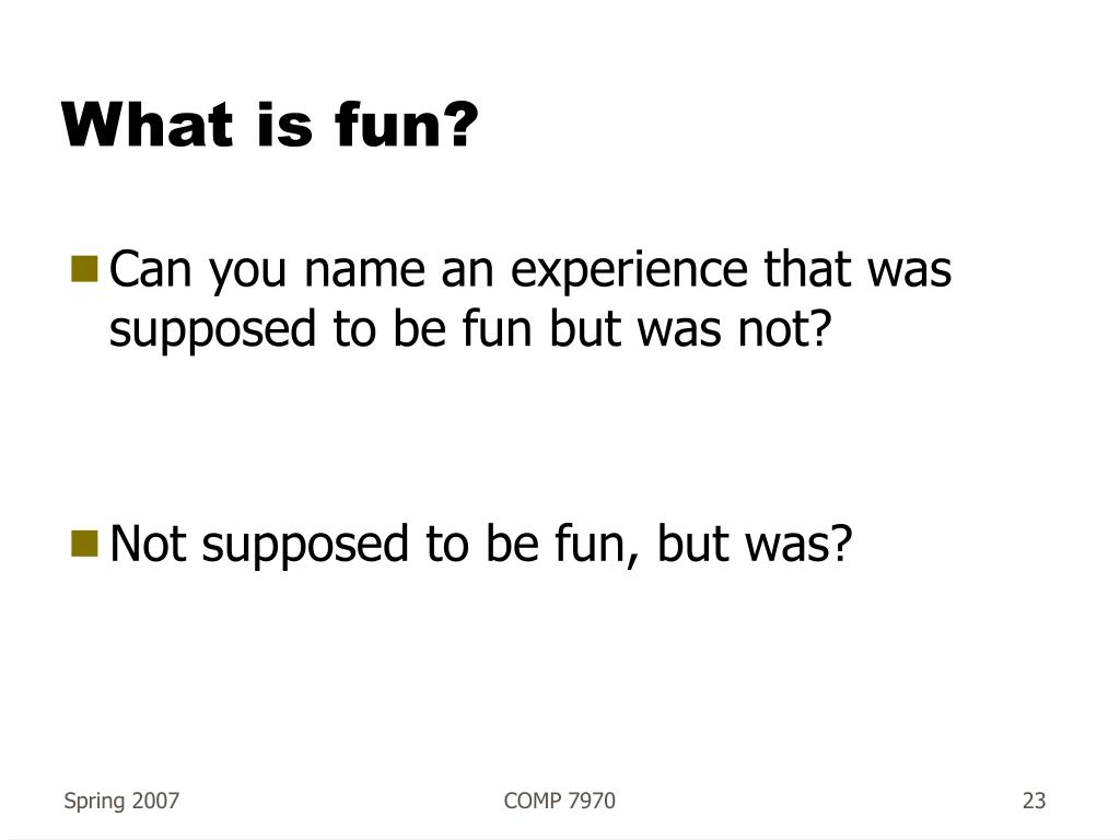 What is fun?