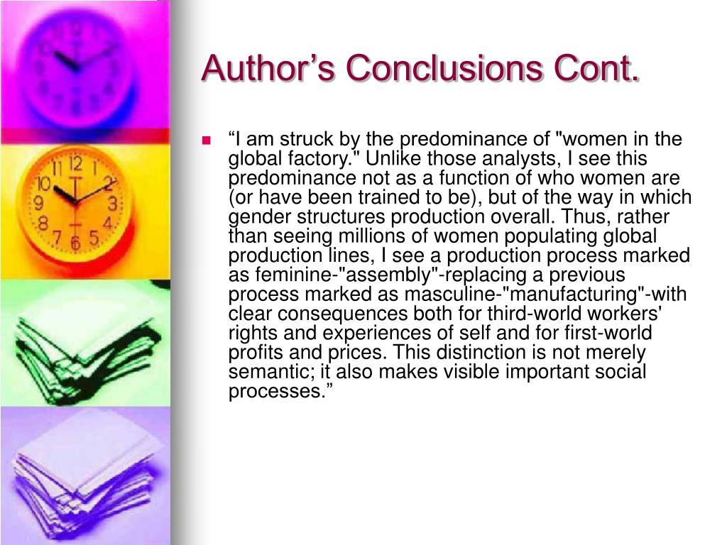 Author's Conclusions Cont.