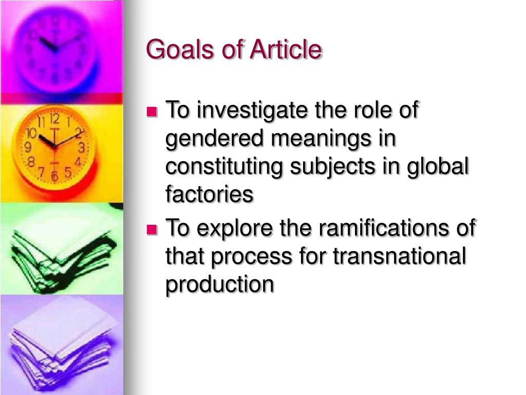 Goals of Article