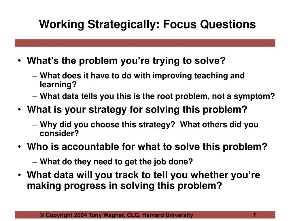 Working Strategically: Focus Questions