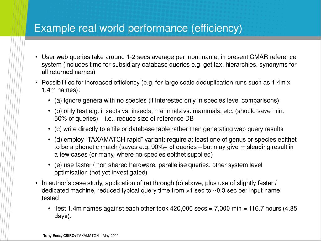 Example real world performance (efficiency)