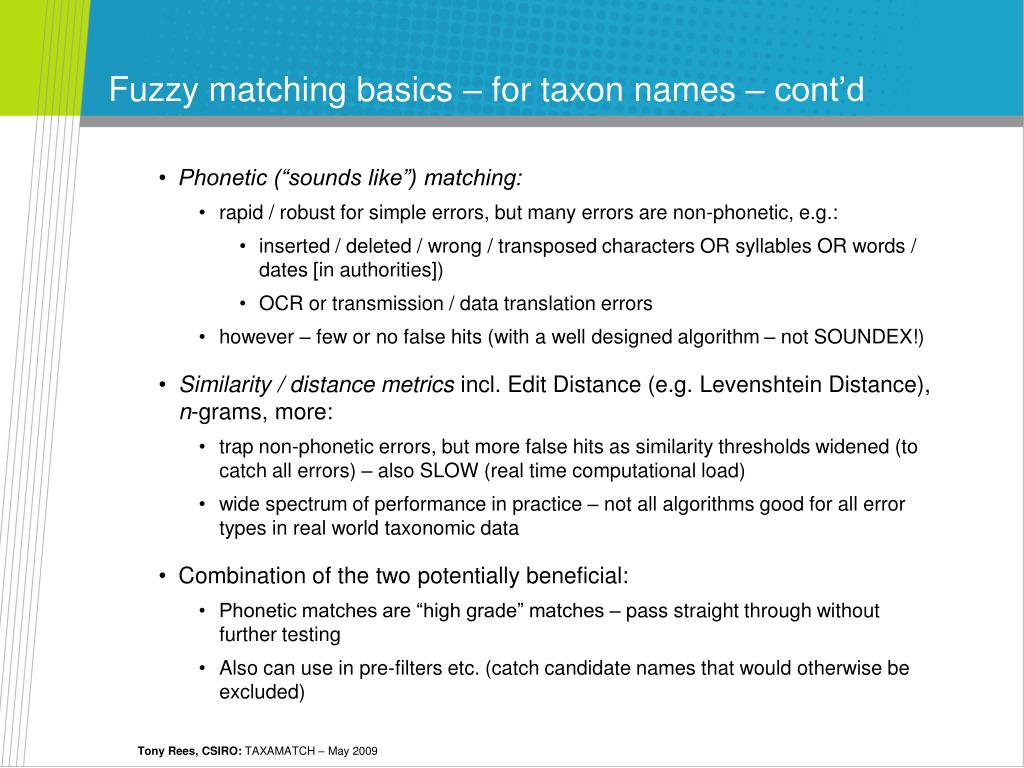 Fuzzy matching basics – for taxon names – cont'd