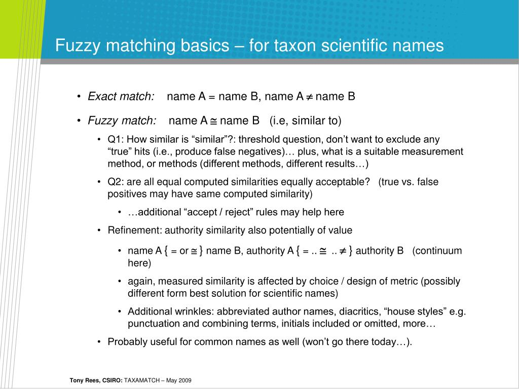 Fuzzy matching basics – for taxon scientific names