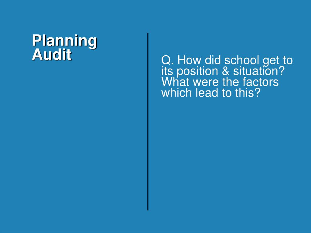 Q. How did school get to its position & situation? What were the factors which lead to this?