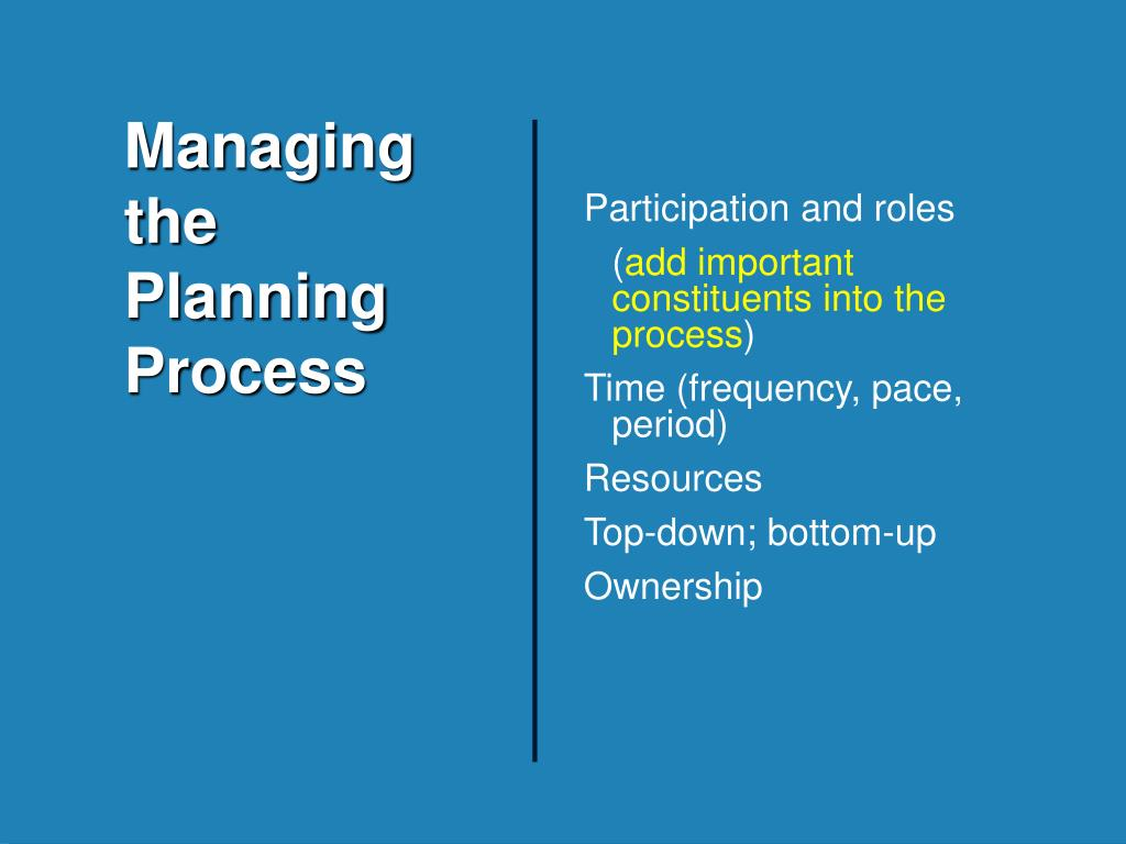 Managing the Planning Process