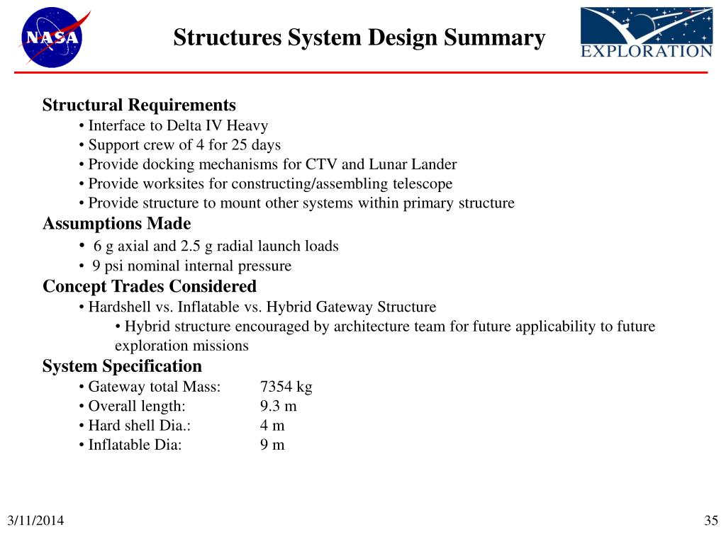 Structures System Design Summary