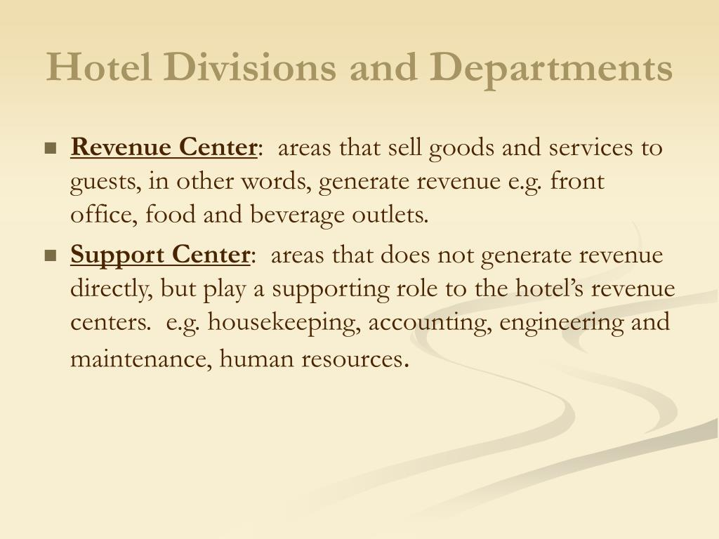 Hotel Divisions and Departments