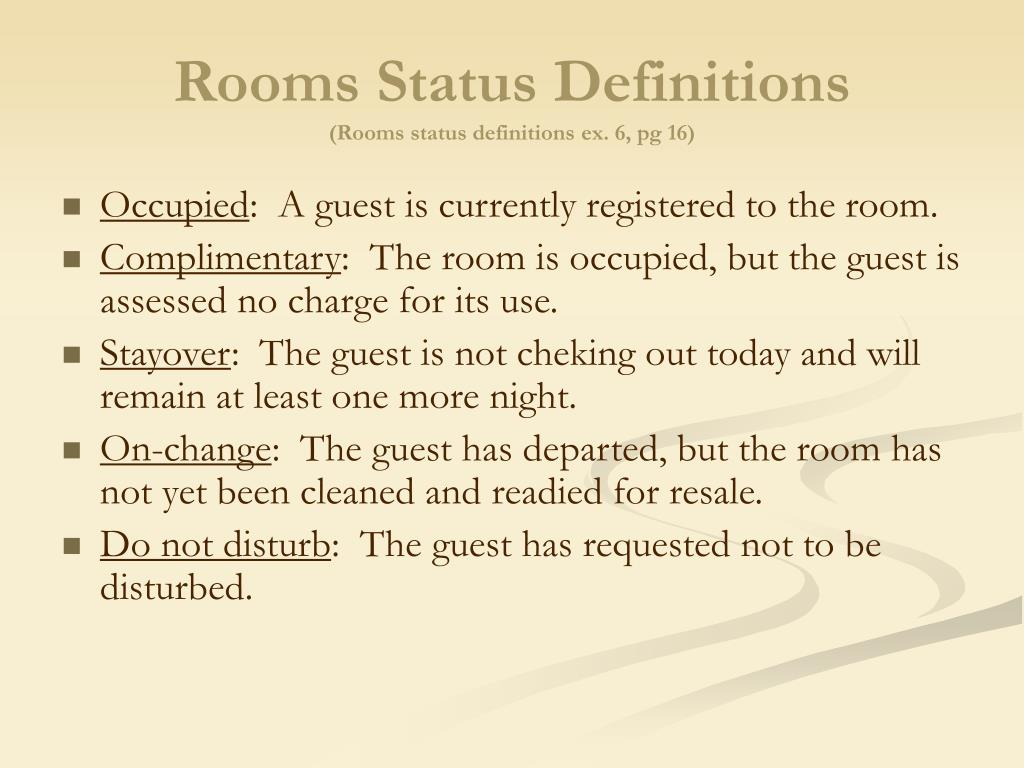 Rooms Status Definitions