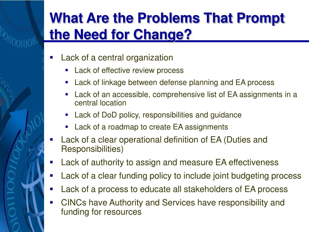 What Are the Problems That Prompt the Need for Change?