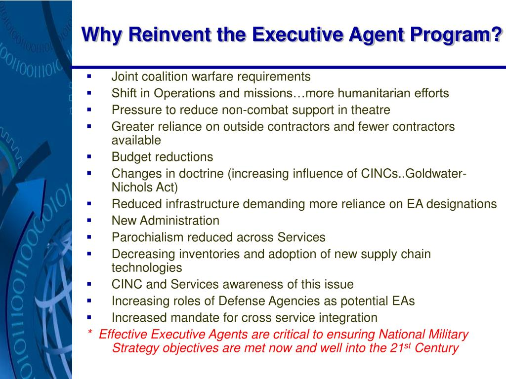 Why Reinvent the Executive Agent Program?