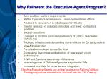 why reinvent the executive agent program