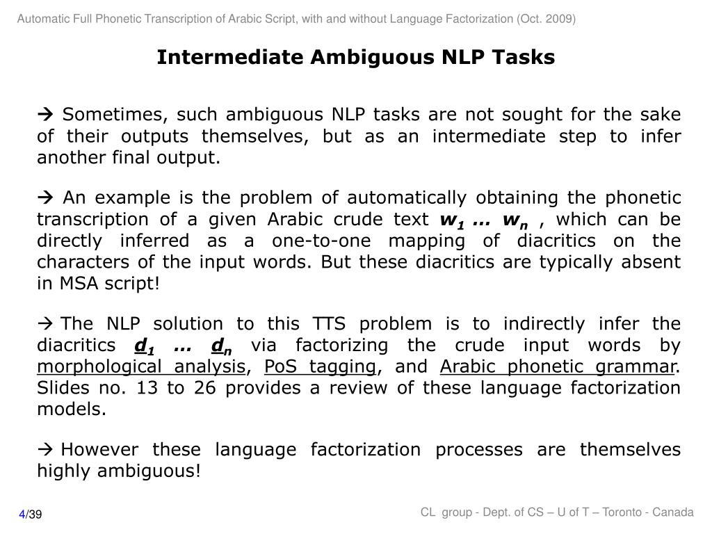 Intermediate Ambiguous NLP Tasks